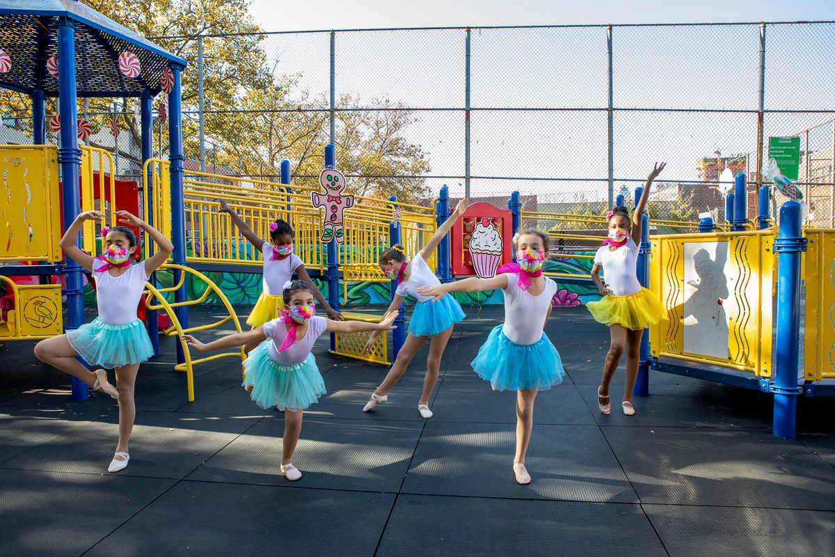 Students from Brooklyn's P.S. 9 PS9 film scenes from The Nutcracker on the school's playground in November.