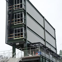 3:34 p.m. The back of the right-field video board -