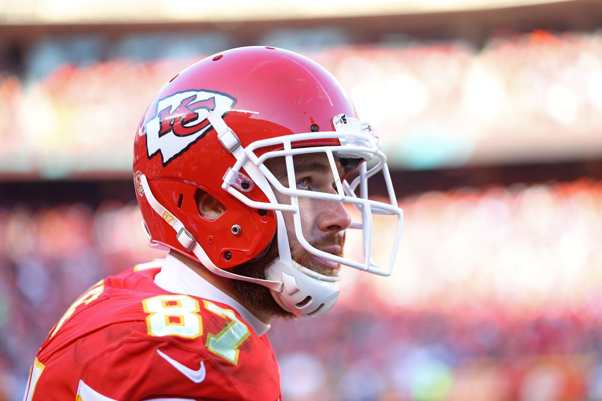 Kansas City Chiefs tight end Travis Kelce against the Tennessee Titans in the AFC Championship Game at Arrowhead Stadium.