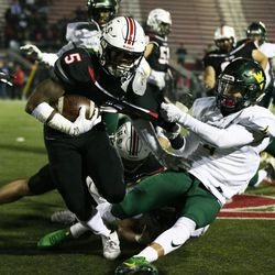 Bolingbrook's Quentin Pringle (5) keeps fighting for yardage. Allen Cunningham/For the Sun-Times.