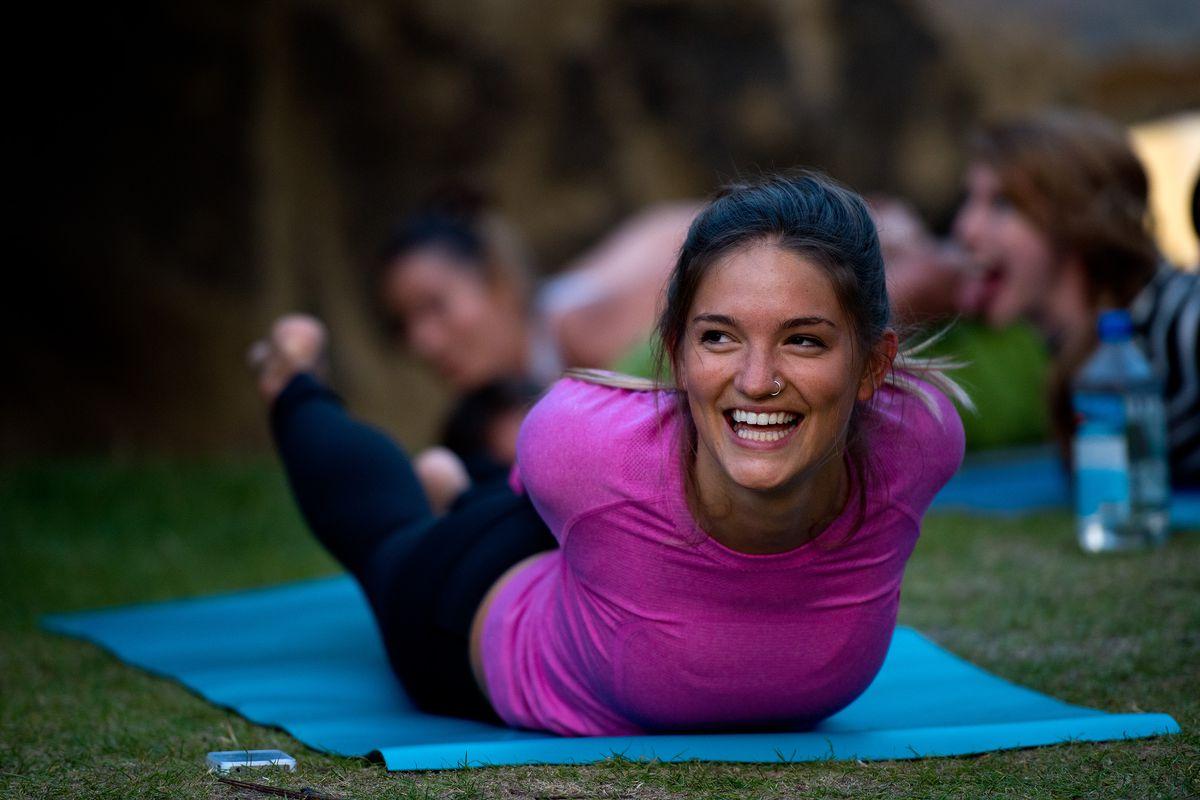 Lululemon Athletica Hosts Summer Sunset Yoga Class At The Serpentine Pavilion