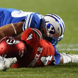 Utah Utes running back Troy McCormick Jr. fumbles the ball in Provo on Saturday, Sept. 9, 2017.
