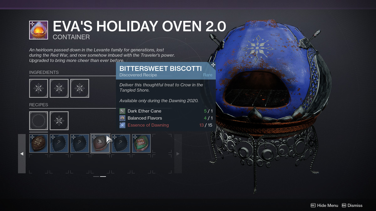 Destiny 2 Dawning 2020 Ingredients Gifts And Recipes Guide Polygon