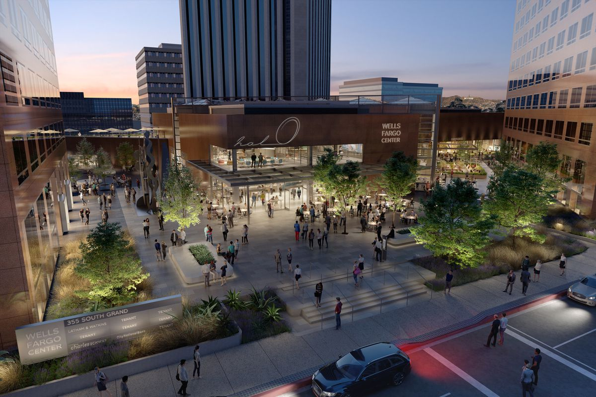 Renderings for a big new atrium food hall in Downtown Los Angeles.