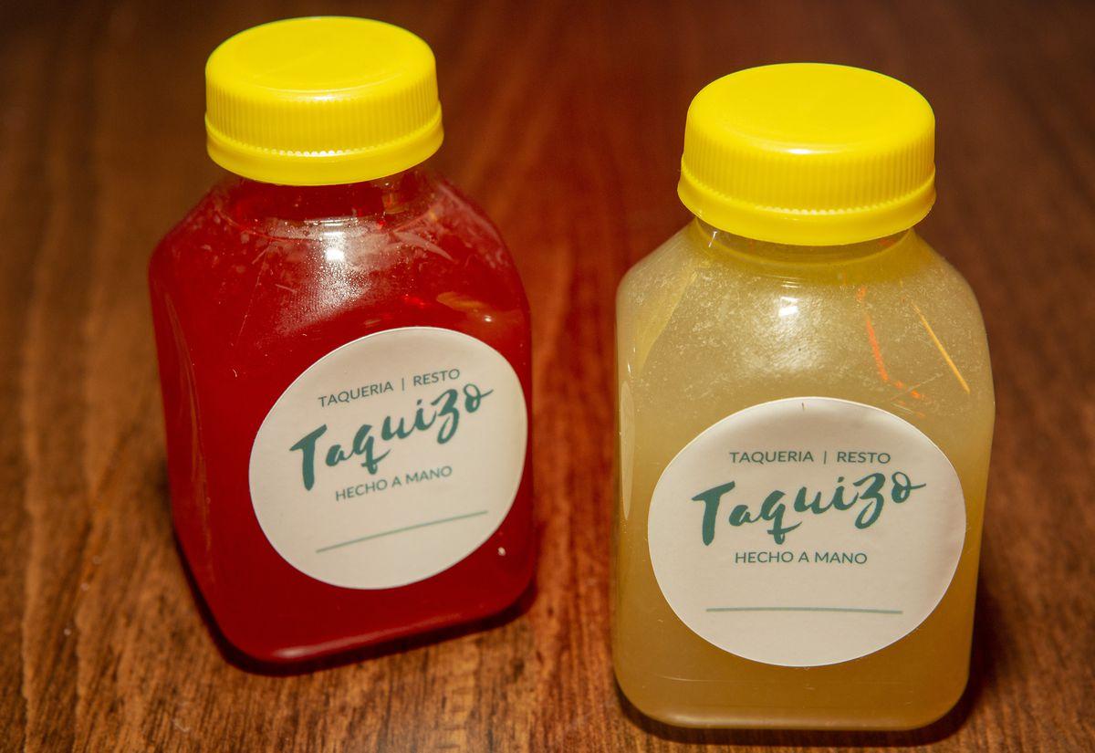 Two small bottles of margaritas.