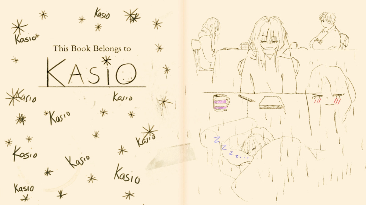 The first page of If Found...'s in-game diary, which is covered in Kasio's name and other scribbles.