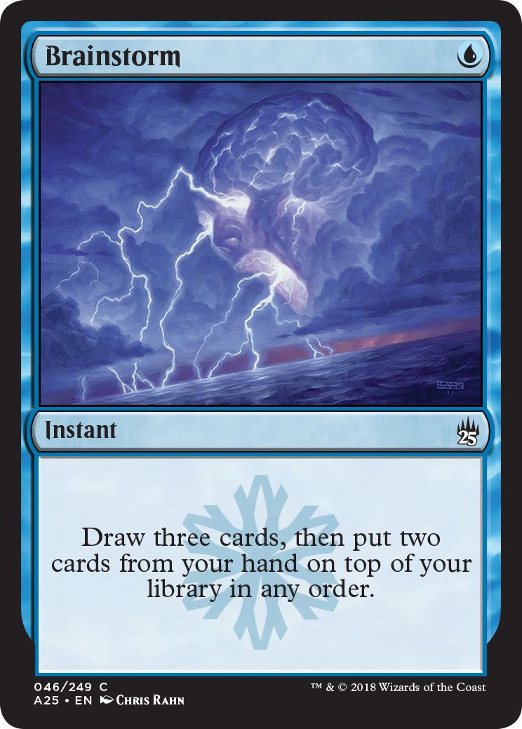 Brainstorm reads: Instant — Draw three cards, then put two cards from your hand on top of your library in any order.
