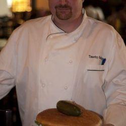 Tim Radigan with the final burger.