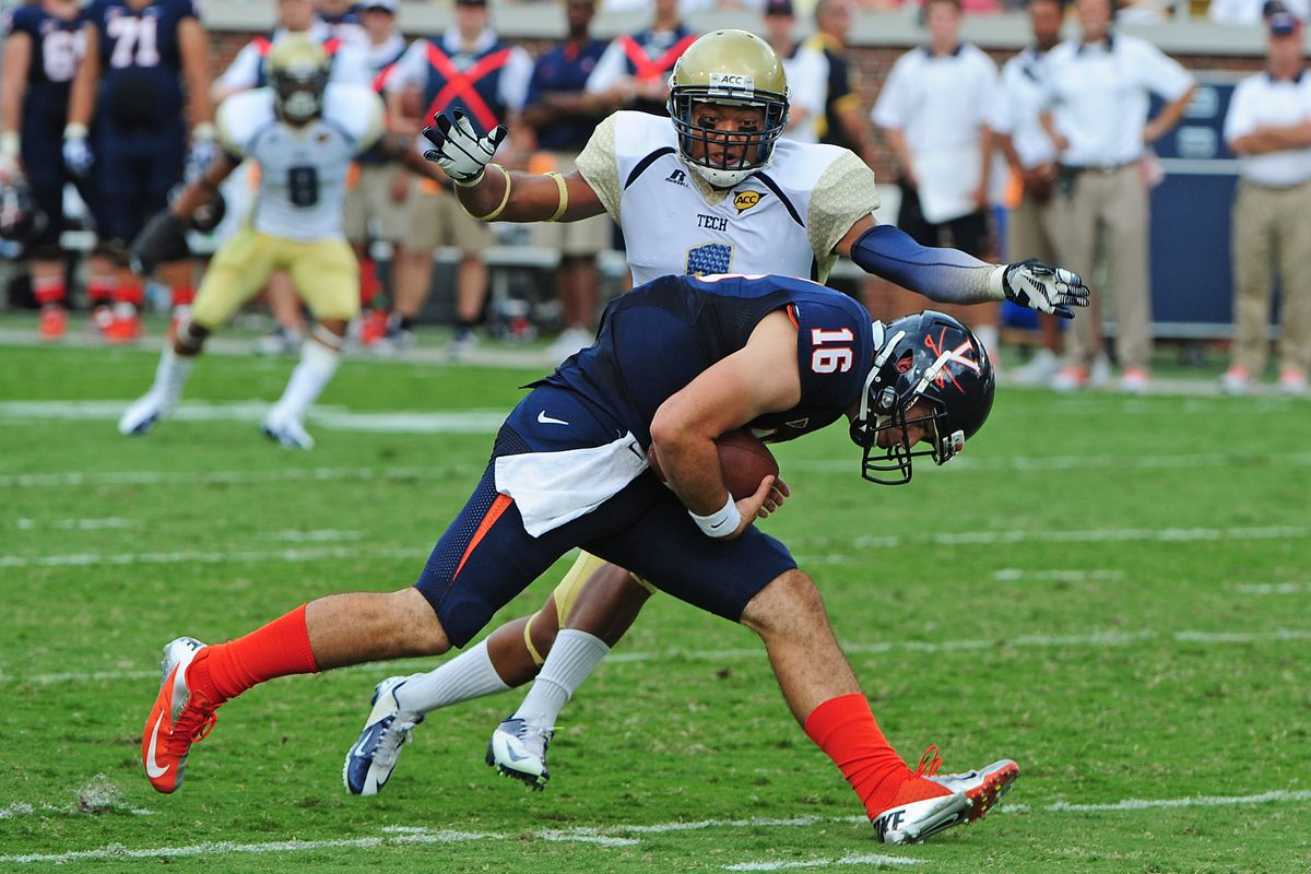 ATLANTA, GA - SEPTEMBER 15: Michael Rocco #16 of the Virginia Cavaliers is sacked by Isaiah Johnson #1 of the Georgia Tech Yellow Jackets at Bobby Dodd Stadium on September 15, 2012 in Atlanta, Georgia. (Photo by Scott Cunningham/Getty Images)