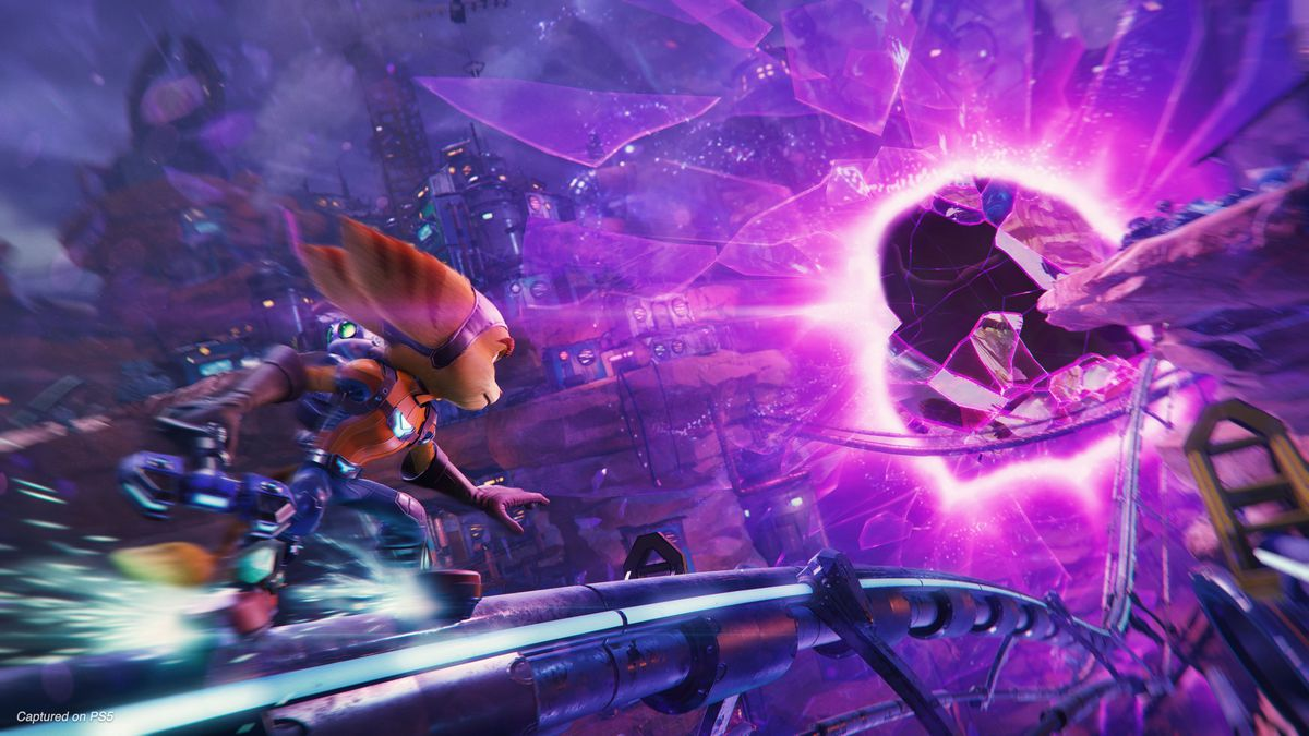 Ratchet grinds on a rail toward a glowing purple portal in a screenshot from Ratchet & Clank: Rift Apart