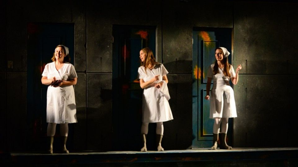 """Erin Myers (center) in the Hypocrites production of """"All Our Tragic."""""""