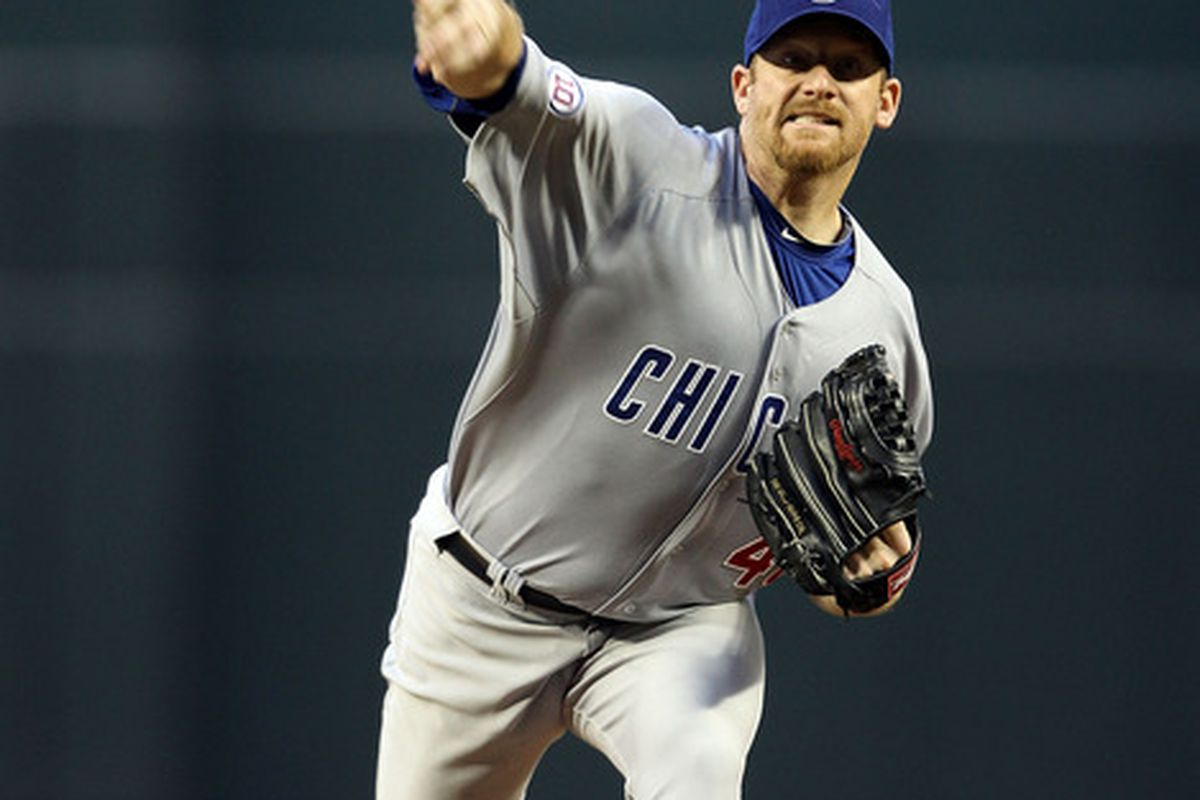 Starting pitcher Ryan Dempster of the Chicago Cubs pitches against the Arizona Diamondbacks during the first inning of the Major League Baseball game at Chase Field on April 28, 2011 in Phoenix, Arizona.  (Photo by Christian Petersen/Getty Images)
