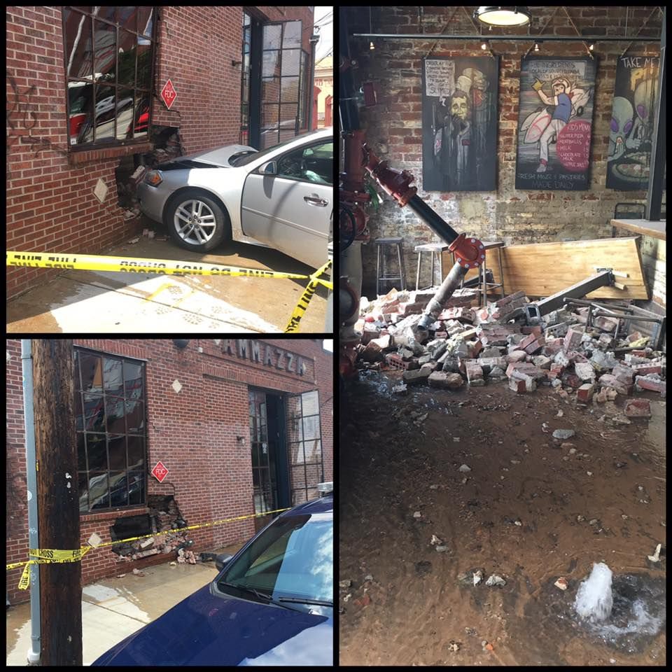Images of damage at Ammazza caused by a car crash.