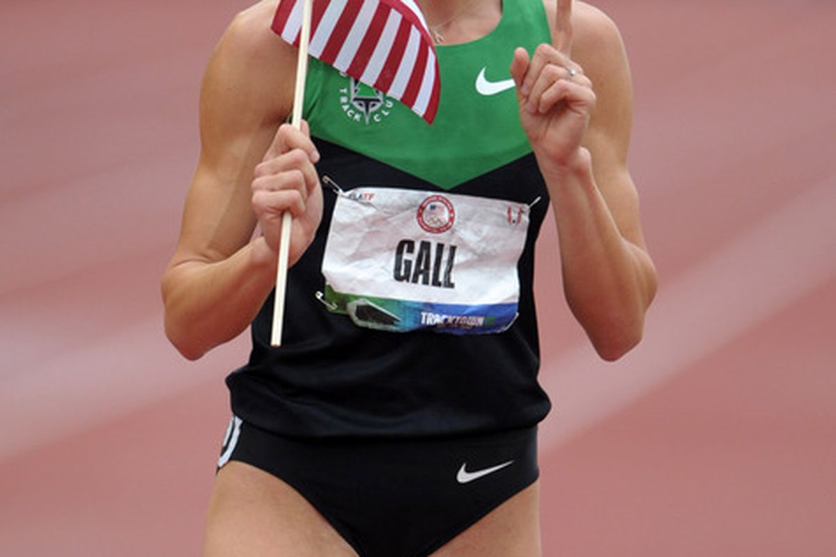 Jun 25, 2012; Eugene, OR, USA; Geena Gall takes a victory lap after finishing second in the womens 800m in 1:59.24 in the 2012 U.S. Olympic Team Trials at Hayward Field. Mandatory Credit: Kirby Lee/Image of Sport-US PRESSWIRE
