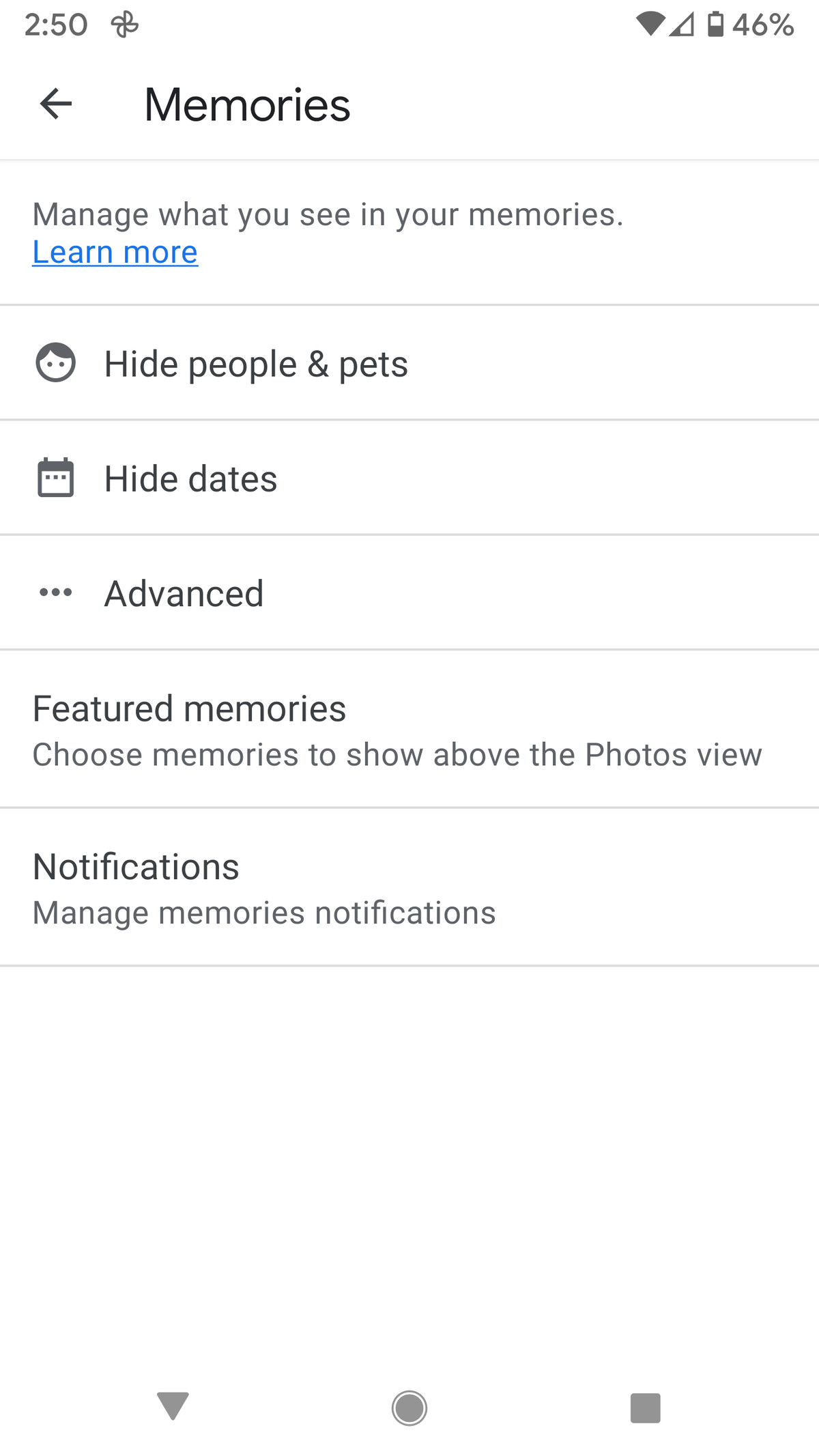 Google Photos' Memories page lets you hide people, pets, or dates.