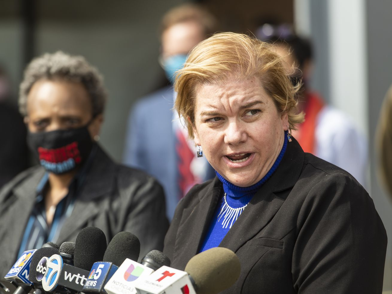 Chicago Public Health Commissioner Dr. Allison Arwady speaks at a March 22 news conference in the Back of the Yards neighborhood. After a month of increases, the city's positivity rate is moving in the right direction, Arwady said Tuesday.