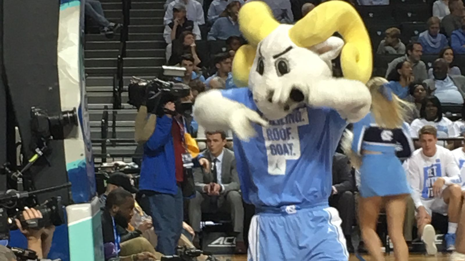 Unc S Band And Mascot Are Wearing Shirts That Say Ceiling