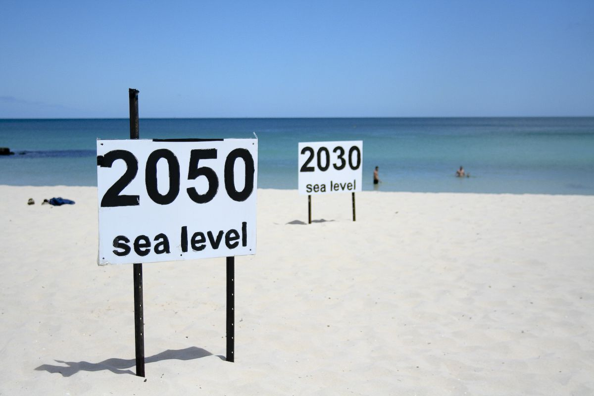 One prediction of where rising sea levels will end up at Cottesloe Beach in Perth, Australia.