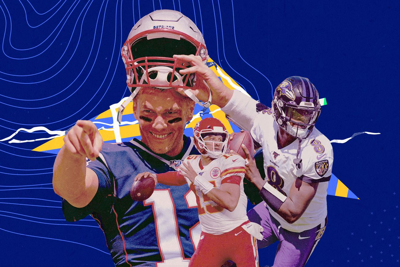 Chiefs QB Patrick Mahomes, Patriots QB Tom Brady, and Ravens QB Lamar Jackson superimposed upon a blue background.