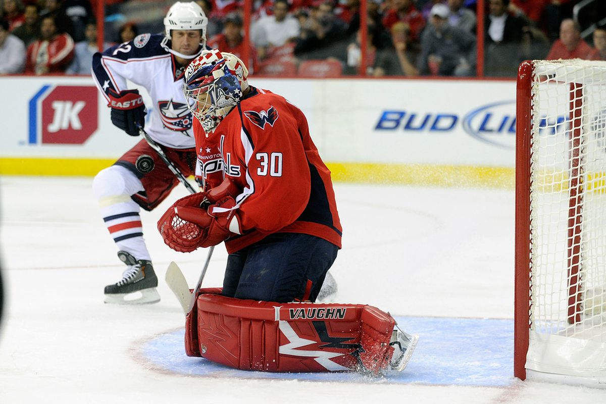 WASHINGTON, DC - SEPTEMBER 26:  Michal Neuvirth #30 of the Washington Capitals makes a save against the Columbus Blue Jackets at the Verizon Center on September 26, 2011 in Washington, DC.  (Photo by Greg Fiume/Getty Images)