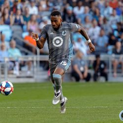 July 27, 2019 - Saint Paul, Minnesota, United States - Minnesota United midfielder Romain Metanire (19) dribbles the ball during the match against Vancouver Whitecaps match at Allianz Field.