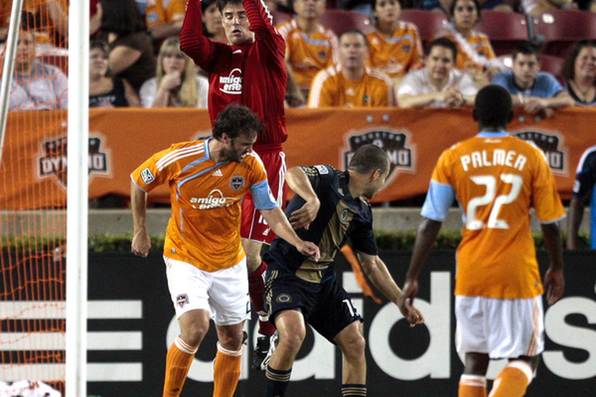 HOUSTON - MAY 29:  Goalkeeper Pat Onstad #18 of the Houston Dynamo goes up for a save against the Philadelphia Union at Robertson Stadium  on May 29, 2010 in Houston, Texas. Philadelphia won 3-2.  (Photo by Bob Levey/Getty Images)