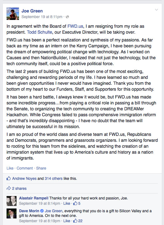 Joe Green's Facebook post about his departure from Fwd.us