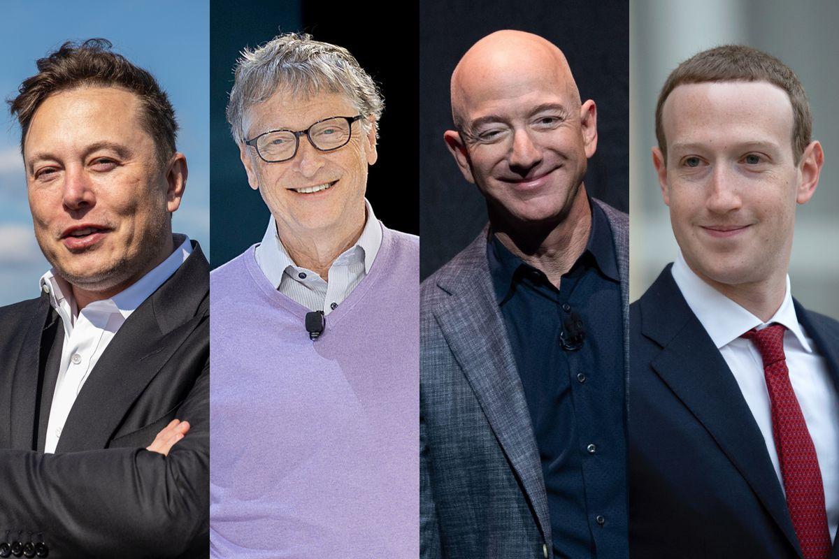 Photos of Elon Musk, Bill Gates, Jeff Bezos, and Mark Zuckerberg.