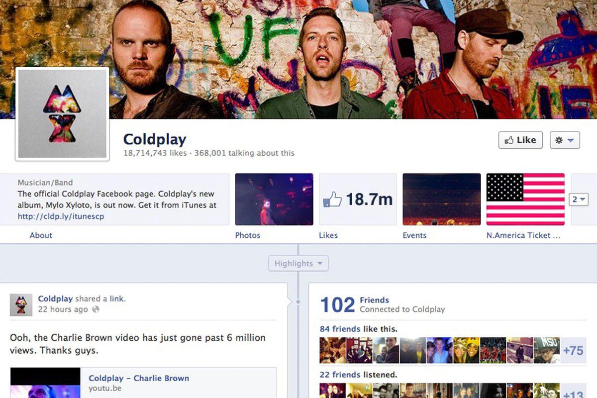 facebook timeline for brands coldplay