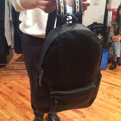 Waxed cotton backpack with horsehair braided straps, $370