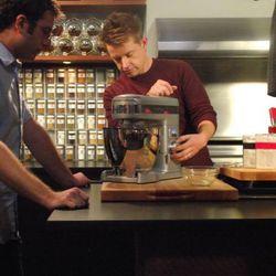 Host Chef Richard Blais walking Scott Wiener of Scott's Pizza Tours, through his scientific dough making process.
