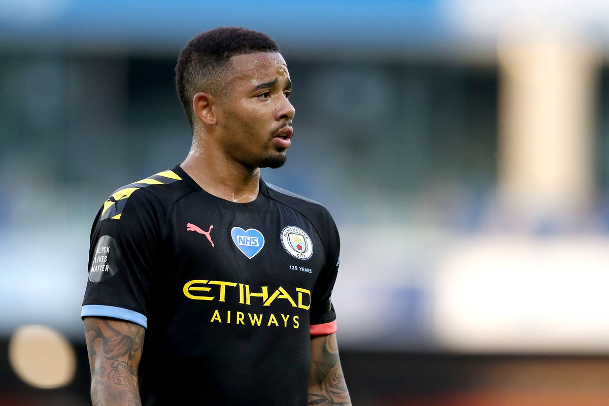 Gabriel Jesus of Manchester City looks on during the Premier League match between Brighton & Hove Albion and Manchester City at American Express Community Stadium on July 11.