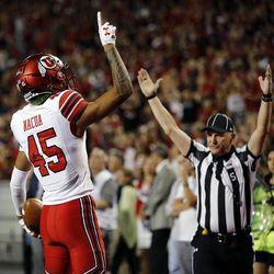 Utah Utes wide receiver Samson Nacua celebrates a touchdown against Arizona in Tucson, Arizona, on Friday, Sept. 22, 2017. Utah beat Arizona 30-24.