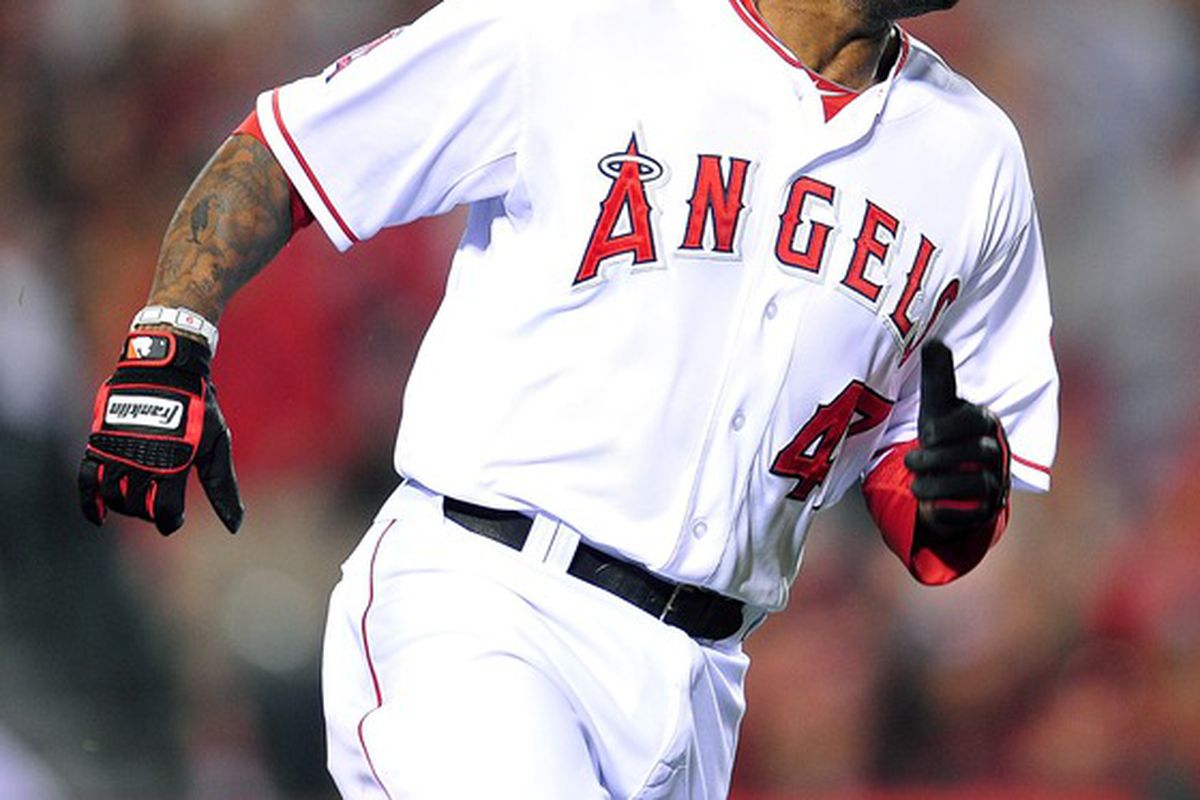 Anaheim, CA, USA; Los Angeles Angels second baseman Howard Kendrick (47) runs after he hits a three run RBI double in the sixth inning against the Baltimore Orioles at Angel Stadium.