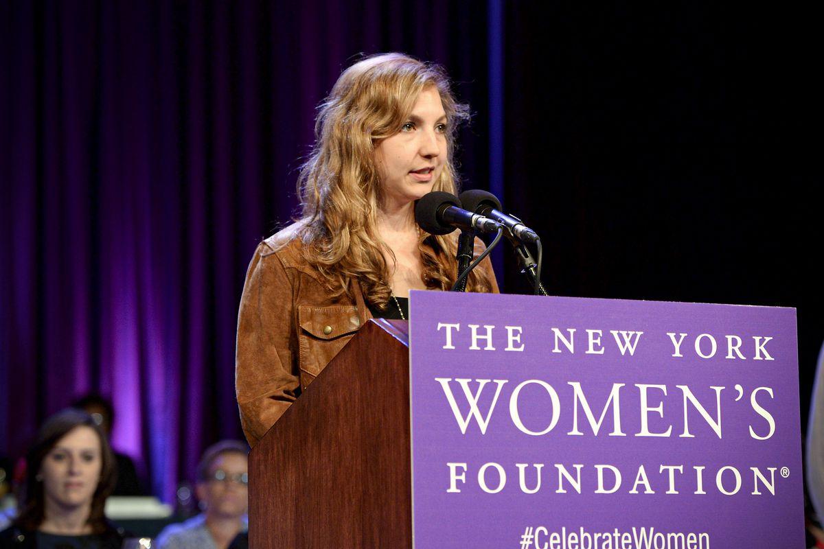 Leah Hunt-Hendrix speaks at The New York Women's Foundation rostrum.