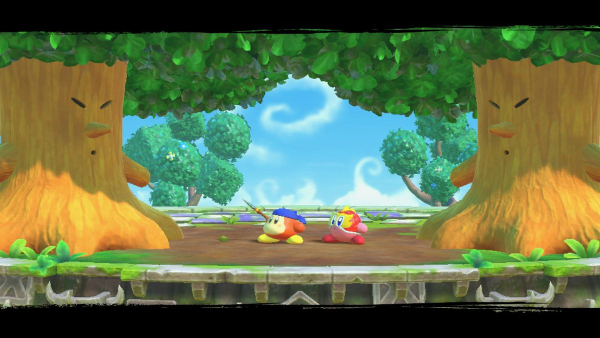 Kirby fights two big trees