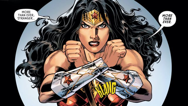 """""""More than ever, Stranger,"""" Wonder Woman swears, her bracers crossed in front of her, """"More than ever."""" in Wonder Woman #757, DC Comics (2020)."""