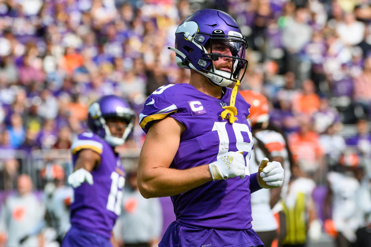 Adam Thielen #19 of the Minnesota Vikings lines up for a play in the second quarter of the game against the Cleveland Browns at U.S. Bank Stadium on October 3, 2021 in Minneapolis, Minnesota.