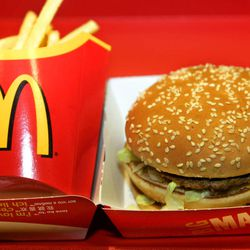 A Big Mac burger and French fries sit on a tray in a restaurant.