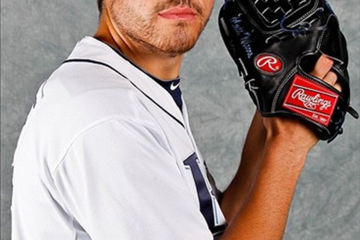 February 29, 2012; Port Charlotte, FL, USA; Tampa Bay Rays starting pitcher Matt Moore (55) poses for a portrait during photo day at Charlotte Sports Park.  Mandatory Credit: Derick E. Hingle-US PRESSWIRE