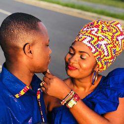 Celestine Mugisha and his wife, Winniefred Akello, in Mbarara, Uganda in November 2018 when Mugisha traveled to Africa to provide Akello's family with the wedding dowry.
