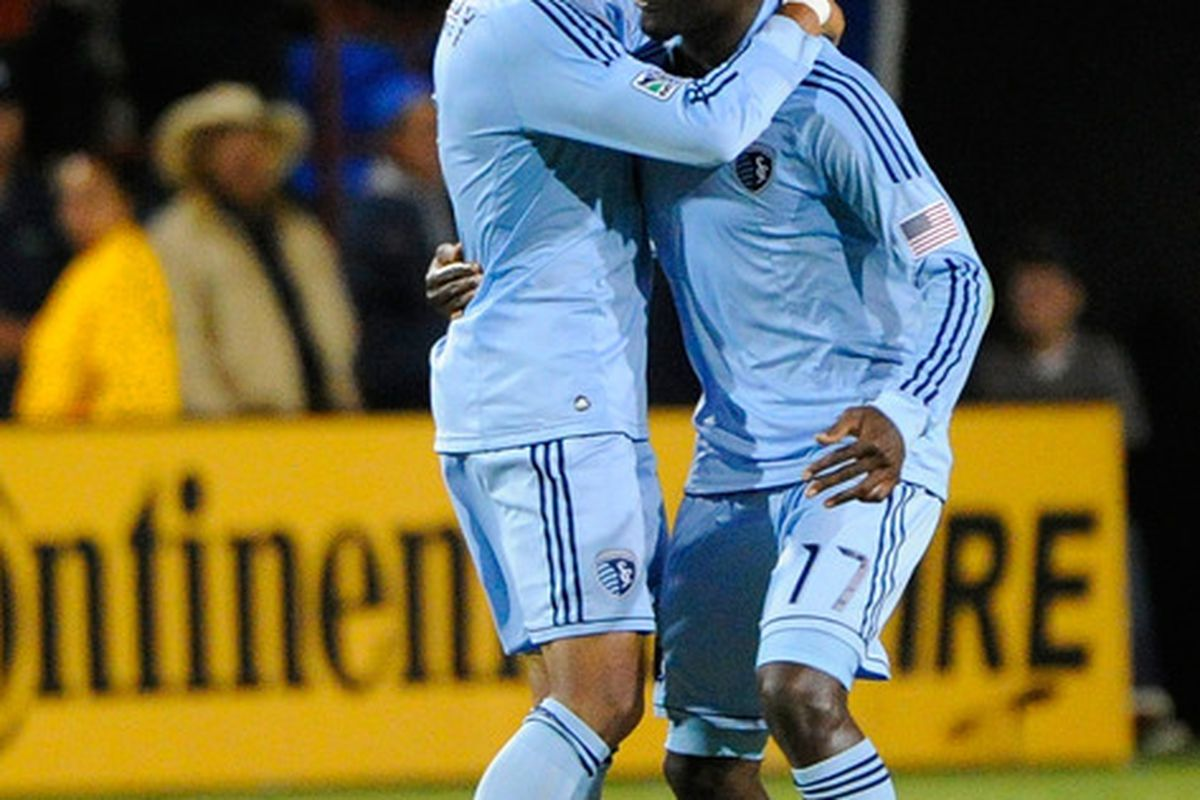 Teal Bunbury, and CJ Sapong celebrate Bunbury's goal, which came only a minute after San Jose took a 1-0 lead from a Chris Wondolowski strike.  (Photo by Thearon W. Henderson/Getty Images)