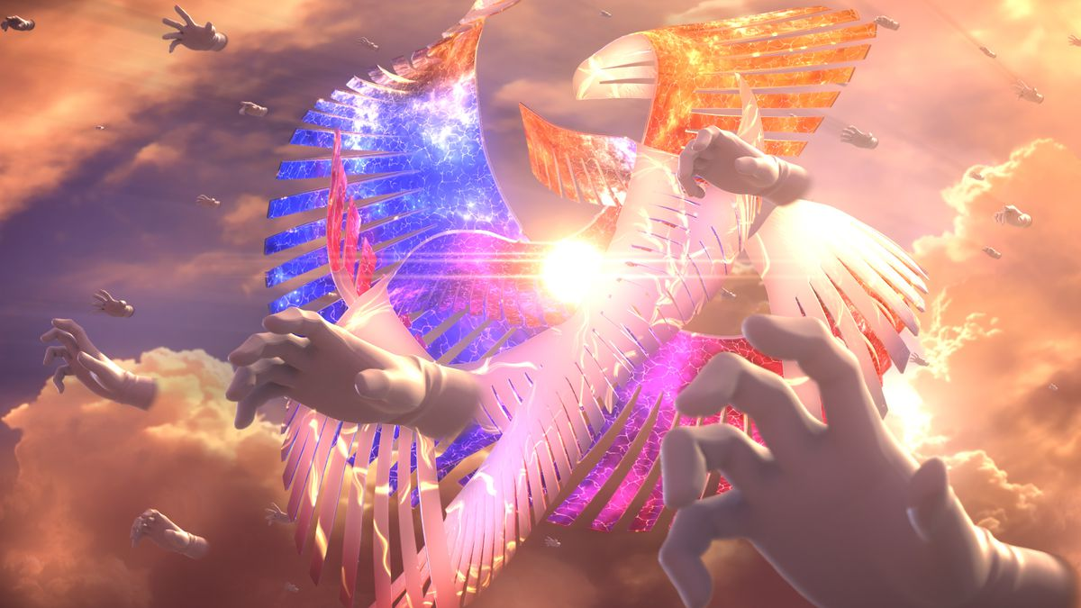 Screenshot of Master Hand and Galeem, which seems to be a major enemy in World of Light Super Smash Bros. Ultimate.