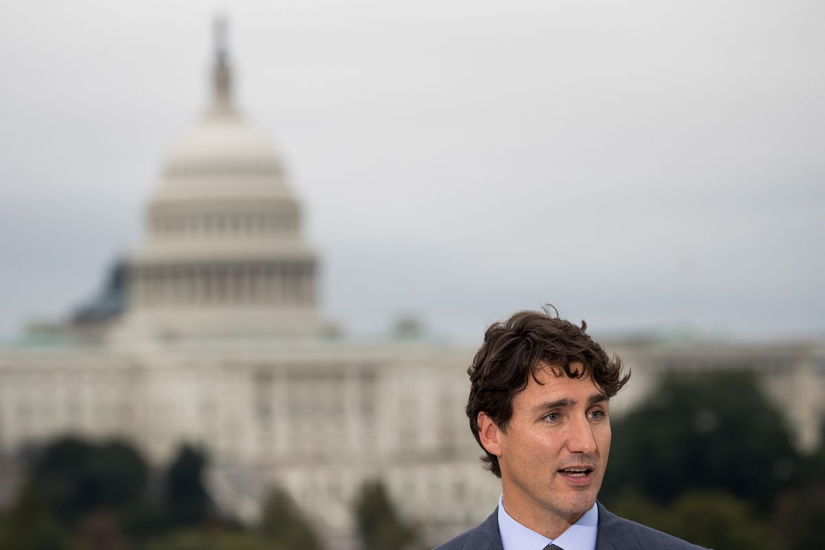Prime Minister Of Canada Justin Trudeau Holds Media Availability At Canadian Embassy In Washington, D.C.