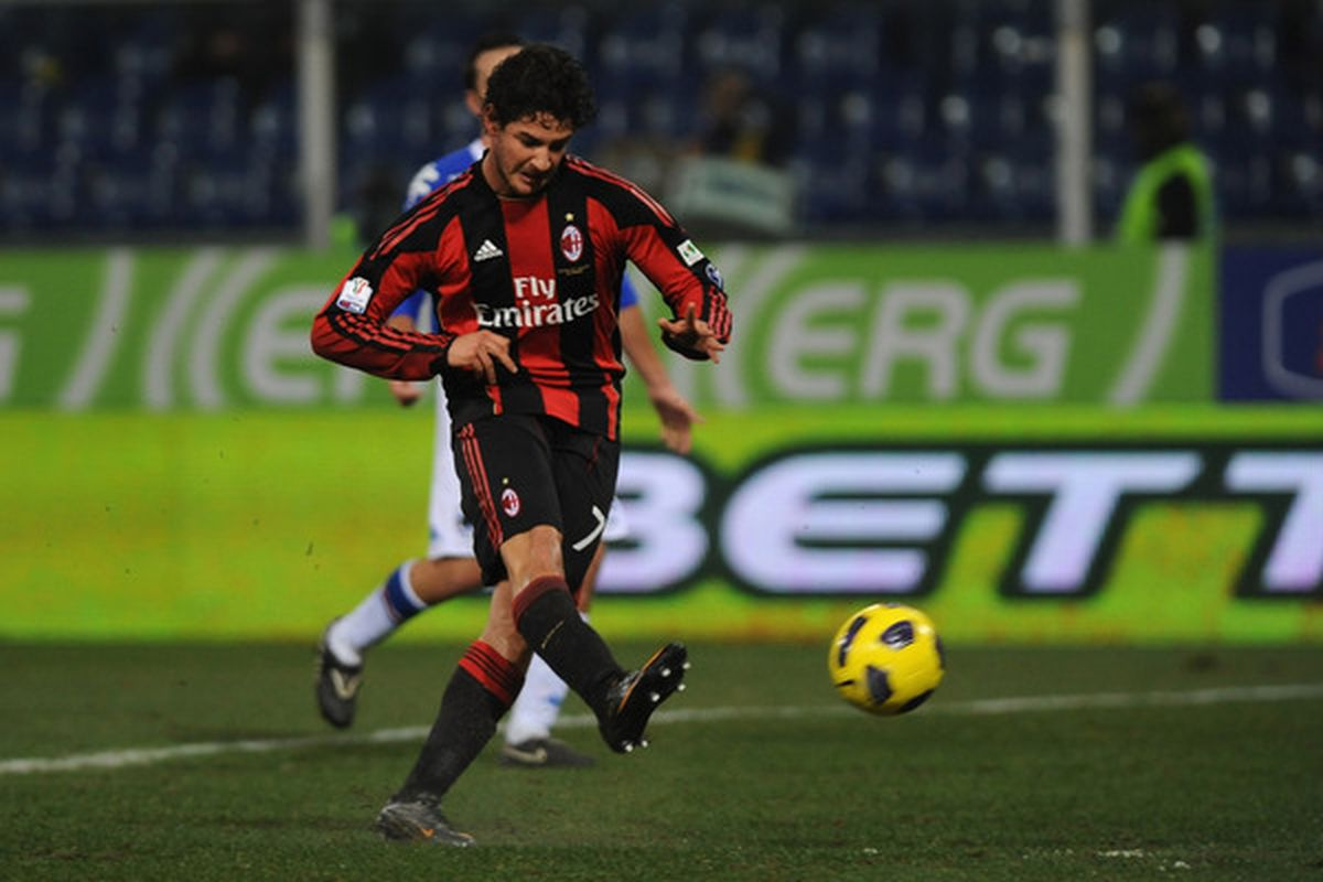 GENOA ITALY - JANUARY 26:  Pato of AC Milan scores his second goal during the Tim Cup match between UC Sampdoria and AC Milan at Luigi Ferraris Stadium on January 26 2011 in Genoa Italy.  (Photo by Valerio Pennicino/Getty Images)