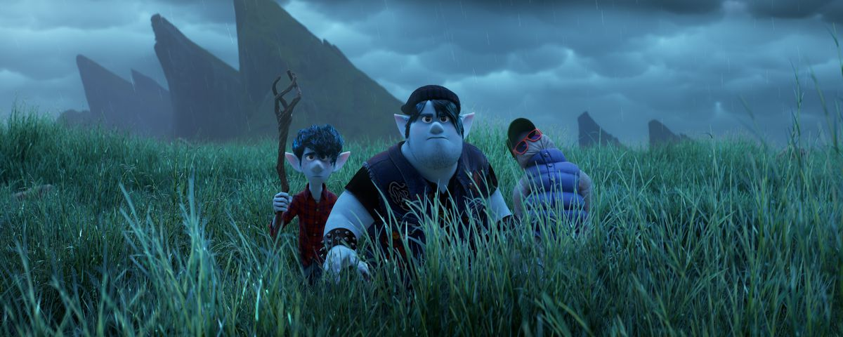Blue-skinned, blue-haired elf heroes Barley and Ian walk through chest-tall grass under an overcast sky, looking determined.