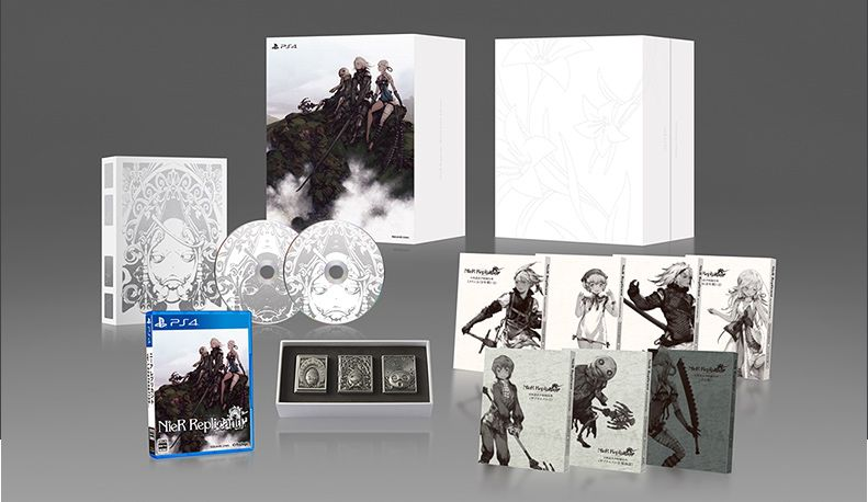 An illustration of the Nier Replicant White Snow Edition and its contents