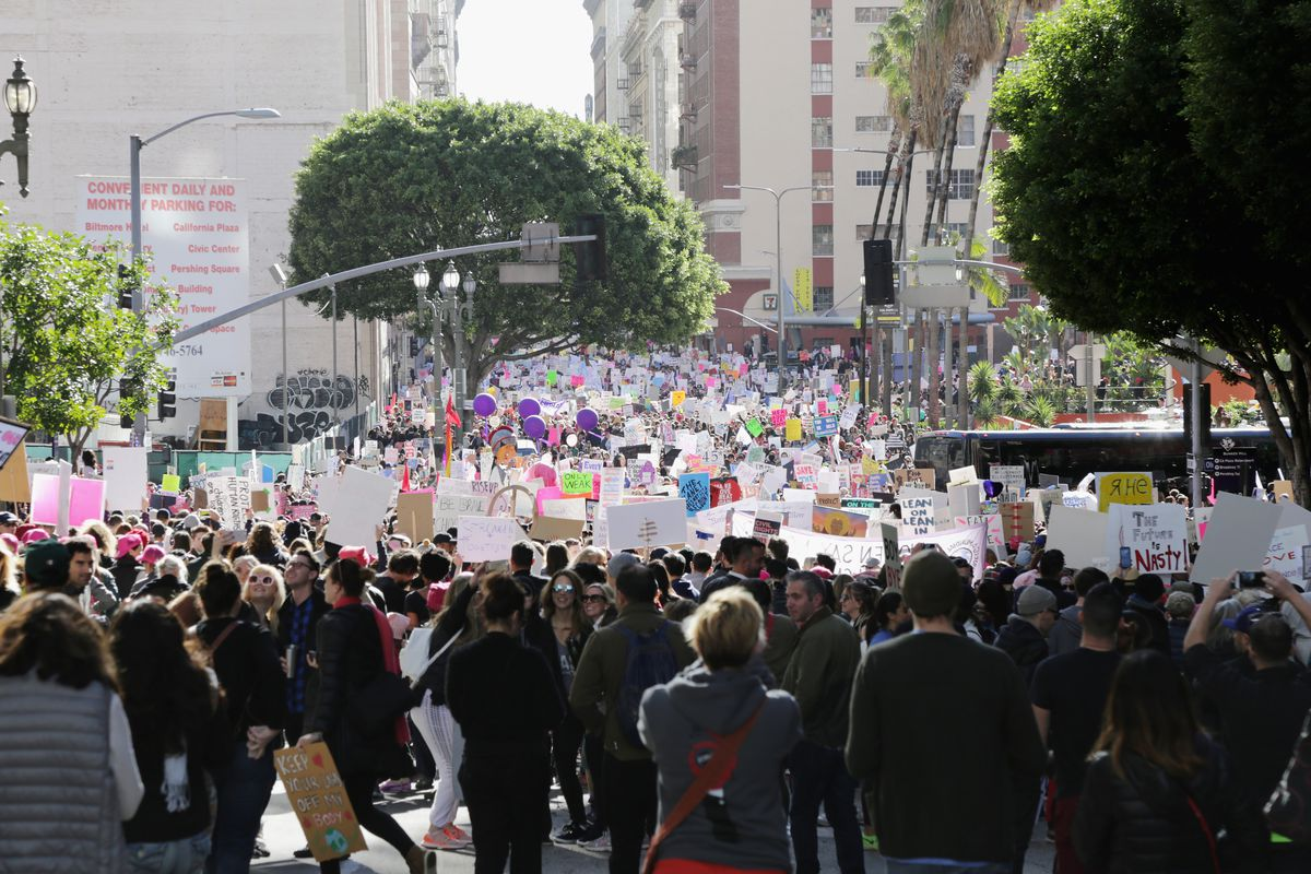 A photo of the 2017 Women's March Los Angeles.