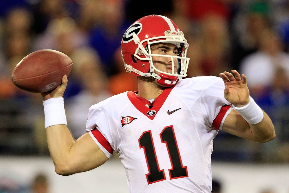 JACKSONVILLE, FL - OCTOBER 29:  Aaron Murray #11 of the Georgia Bulldogs attempts a pass during the game against the Florida Gators at EverBank Field on October 29, 2011 in Jacksonville, Florida.  (Photo by Sam Greenwood/Getty Images)