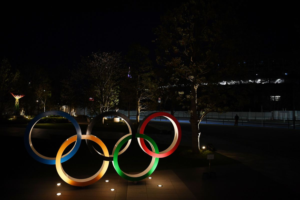 A general view shows an installation of the Olympic rings in Tokyo on March 24, 2020.